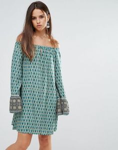 Lunik Off Shoulder Printed Dress With Frill Sleeves