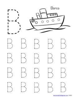 Abecedario en mayusculas con dibujos Shape Worksheets For Preschool, Handwriting Worksheets For Kids, Alphabet Tracing Worksheets, Preschool Writing, Numbers Preschool, Kindergarten Math Worksheets, Preschool Printables, Kids Worksheets, Tracing Letters
