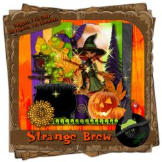 """Strange Brew - Halloween themed digital taggers kit composed of 20 (800 x 800 pixel, .jpg) papers and 110 .png elements including 4 """"cookie"""" posers by ©Sophisticated Scraps and Image. 300 DPI.  Personal Use only."""