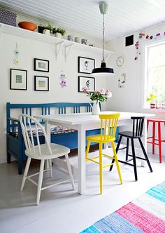 Love this look. I'm thinking about painting my dining room chairs. They all match, but I would paint them different colours and upholster each seat in a different modern funky fabric. They are vintage, wood, Scandinavian Design which is the dilemma.