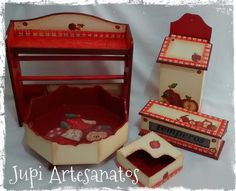Jupi Artes: Kit para Cozinha Maçã Vermelha