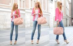 pink blazer, white shirt, blue skinny jeans, nude pumps and coral bag