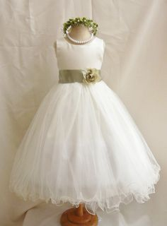 Flower Girl Dress IVORY/Green Sage FL Wedding Children Easter Bridesmaid Communion Green Sage Green Olive Green Lime Green Kelly Gold