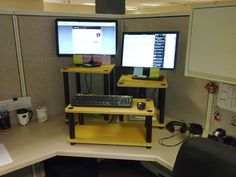 DIY stand up desk for the office -- assemble shelving units from Lowe's or Home Depot