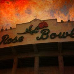 The Rose Bowl -- The football stadium in Pasadena, California that hosts the annual Rose Bowl game on January 1.  Also home to UCLA and USC football games!
