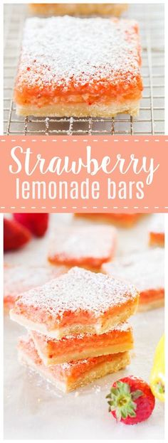 Strawberry Lemonade Bars   These Strawberry Lemonade Bars are a delicious bite of summer! Tangy lemonade and sweet strawberries make this a dessert you will be begging for seconds!