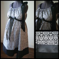Maternity Hospital Gown: Black and White Damask, Black Band (labor and delivery maternity hospital gown) - Just got this for Ryker's BIRTH day :) Baby On The Way, Baby Love, Birthing Ball, Printed Gowns, White Damask, Maternity, Cotton Fabric, Delivery, Glamour