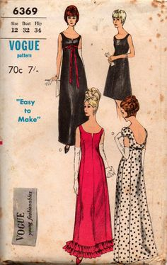 Vogue 6369 Empire Waist Princess Seamed Evening Gown 60s Vintage Sewing Pattern Size 12 Bust 32 inches UNUSED Factory Folded