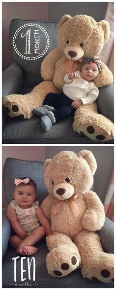Monthly baby photos with a stuffed animal. So cute! We love seeing your babies growth each month! Download the Little Nugget®️ app to capture your pregnancy & baby milestones in a photo. Add personalized text & beautiful artwork to create birth announcements, pregnancy announcements, gender reveals, monthly baby photos, baby milestones & firsts, week by week pregnancy photos, weekly baby photos, & more. Download 'Little Nugget' now by tapping the photo. Photos: @sammiejo72