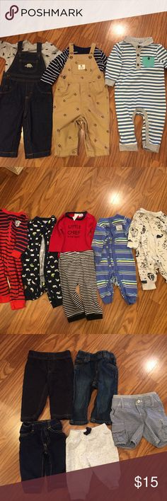 Carters 6 months Bundle Overall, pyjamas, jeans, sweatpants and long sleeve & short sleeve onesies. All in excellent condition. Carters One Pieces Bodysuits