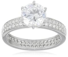 Sterling Silver Simulated Diamond Solitaire Round and Side Stones Pave Ring, Size 7 - Fashion Jewelry
