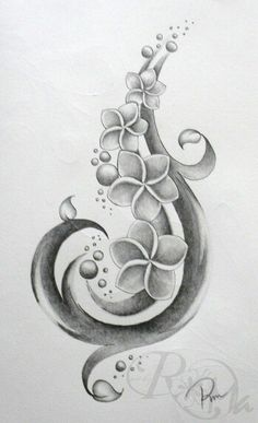 Black and grey plumeria tattoo