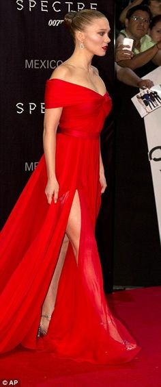 Leggy lady: She flashed her long pins in her thigh-split dress as she made her way inside the venue