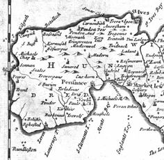 "WEST PENWITH | 1696 | Robert Morden: 'This map was published in the Gibson 1696 edition of Camden's ""Britannia"" in English translation. It is superior in appearence to most earlier editions, being a lot less cluttered. I have an extract of West Penwith here.' ✫ღ⊰n"