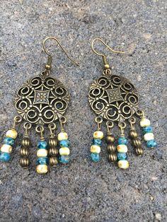 Boho Earrings Hippie Earrings Dangle Earrings Czech Glass