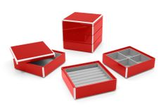 Elle Lacquer Set of 3 Stacking Jewelry Boxes Cherry Red