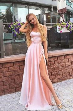 Charming a line sweetheart spaghetti straps slit pink long prom dresses, beautiful evening dresses - Abschlussball Kleider - Long Prom Dresses Uk, A Line Prom Dresses, Beautiful Prom Dresses, Formal Evening Dresses, Elegant Dresses, Sexy Dresses, Summer Dresses, Wedding Dresses, Straps Prom Dresses