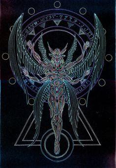 Angellum - Elohim by Lakandiwa Graffiti Art, Occult Tattoo, Psychadelic Art, Alchemy Art, Satanic Art, Esoteric Art, Raven Art, Cultura Pop, Religion