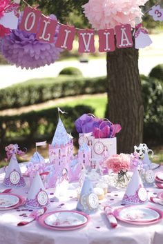 like the banner with age next to her name  sweet party hats, dress up princess dolls. (this makes me want to be a little girl again!)