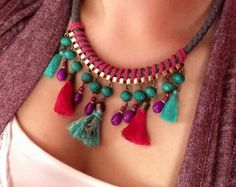 Yellow turquoise and purple tassel necklace by NaturalColoursshop