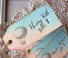 Wedding Reception Escort Tag Vintage Hot Air Balloon Watercolor Place Card