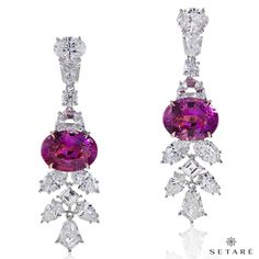 The impeccable earrings in platinum sparkle with a pair of 10.98cts Oval Pink Sapphire and 8.80cts of white diamonds. #setaré #handmade #platinium #pink #sapphire #diamonds #luxuryjewelry #diamond