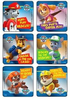 Paw Patrol Characters Foil Sticker Set 90 Stickers Marshall Zuma Rocky Chase Rubble Skye