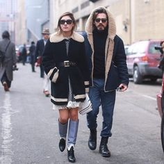 Best couple ever! @patriciamanfield during #nyfw with her partners in crime: @giottocalendoli and #marialamanna Blues bag #marialmgirls