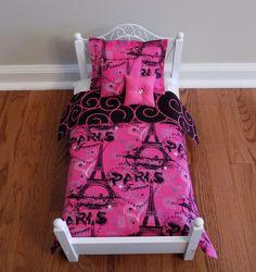 "Doll Bedding set Comforter Pillow Paris Forever American Made for 18"" Girl doll #paris #americangirl #parisdollbedding"