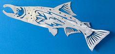 Metal gamefish salmon... Hand drawn and plasma cut aluminum sculpture...www.metalgamefish.com