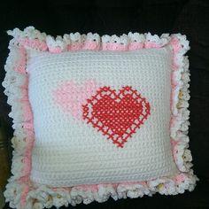 Valentine crochet and cross stitch pillow