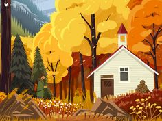 Autumn Forest Cabin by SakuraChen for innn on Dribbble Art And Illustration, Illustration Inspiration, Illustrations And Posters, Graphic Design Illustration, Illustration For Children, Forrest Illustration, Nature Illustrations, Watercolor Illustration, Autumn Forest