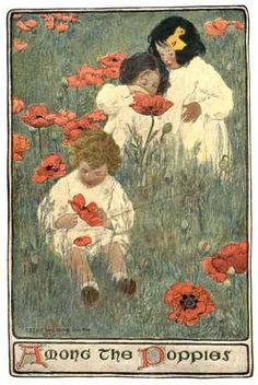 Jessie Willcox Smith (1863-1935) was among the most gifted of the students of Howard Pyle, and she took to heart his precept of (loosely put) studying a particular subject thoroughly, and conversely, painting what one knows best in order to bring the subject alive. Quite early, she settled on exploring the universe of the child, and did so with great sensitivity and tenderness over the first 30 years of this century.