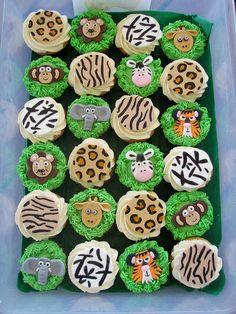 Mossy's Masterpiece - Jacob's 2nd Birthday Jungle cupcakes by Mossy's Masterpiece cake/cupcake designs, via Flickr