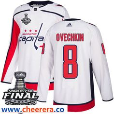 Washington Capitals  8 Alex Ovechkin White Stitched Adidas NHL Away Men s  Jersey with 2018 Stanley 2afa1074d