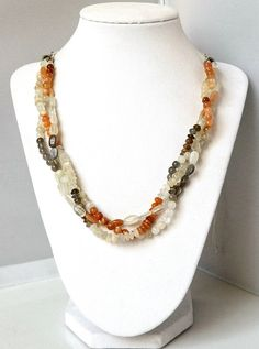 Multi Strand Braided Statement Moonstone Necklace by MsBsDesigns, $138.00