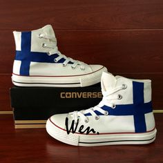 Sneakers Unisex Converse All Star Finland Flag Design Custom Hand Painted  Shoes 718090a543