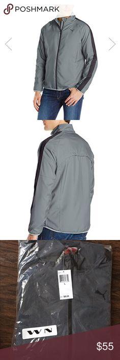 Men's Puma jacket PUMA mens woven light weight jacket, color: black/ turbulence (grey /black), brand new , great material, size: large Puma Jackets & Coats