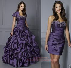 Purple Quinceanera Dress Removable Skirt ball gown  Great idea for two looks on your wedding day!!!!   /// I'd lose the thing on the sleeves, and it would be ivory <3