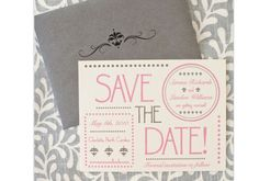 Hampton's Wedding Invitation Save the Date - Ivory, Pink and Pewter Grey. $1.75, via Etsy.