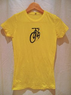 """Bright Yellow Women's """"Ride"""" T-Shirt With Mountain Bike - size Large. $22.00, via Etsy."""