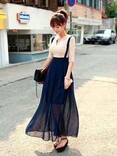 cf73c4899a3f no title シフォンマキシ, サスペンダー, 韓国ファッション, ハイウエストスカート, ロングマキシ