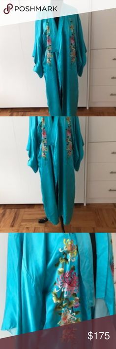 """Vintage Chinese Turquoise 100% Silk Kimono 80's Vintage Chinese Turquoise Silk Full Length Kimono & Hand Embroidered Multi-Colored Flowers  Stunning Kimono - worn as a slinky sexy dressing gown or """"out""""  for the perfect boho vibe Looks amazing with everything! 100% pure silk with large hand embroidered multi-colored floral pattern on front, back and sleeves  Size: M-L Fabric: 100% Silk, Hand Embroidery  Condition: Very good   Two minor imperfections (see photos) Missing belt Original Chinese…"""