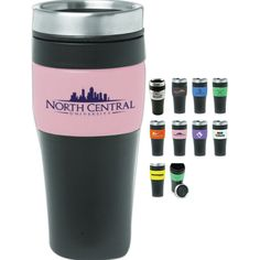 Two tone 16 oz. stainless steel insulated travel mug / travel tumbler with matching colorful band, double wall thermal plastic insulated matching color top and sipping slider lid. Fits most automobile cup holders.