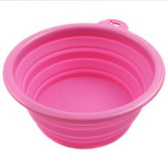Healthy Diet Ros Silicone Pet Expandable/Collapsible Travel Bowl - Size: 1.5 Cups, Color: Hot Pink