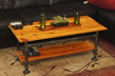 Made a new coffee table with black iron pipes and some red cedar! Learn how you can make your own along with lots of other cool projects by visiting my blog at http://rusticdiyprojects.blogspot.com/2015/03/how-to-red-cedar-steam-punk-coffee-table.html