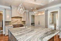 Chiott Custom Homes Kitchen…gray cabinets, Fantasy Brown marble countertops - Toptrendpin Brown Granite Countertops, Outdoor Kitchen Countertops, Granite Kitchen, Kitchen Cabinets, Kitchen Slab, Granite Backsplash, White Granite, Kitchen Counters, Backsplash Ideas