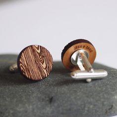 Wood Grain Secret Message Cufflinks, Custom Wood Cufflinks, Personalized Message Cufflinks