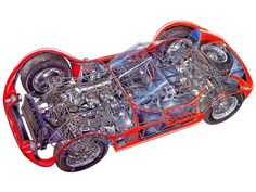 1959–60 Maserati Tipo 61 Birdcage Cutaway by James Allington