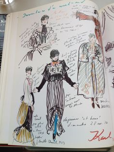 Karl Lagerfeld's sketches of Anna Piaggi. Sketchbook Layout, Textiles Sketchbook, Fashion Design Sketchbook, Fashion Design Drawings, Sketchbook Inspiration, Fashion Sketches, Fashion Design Portfolios, Dress Sketches, Drawing Fashion
